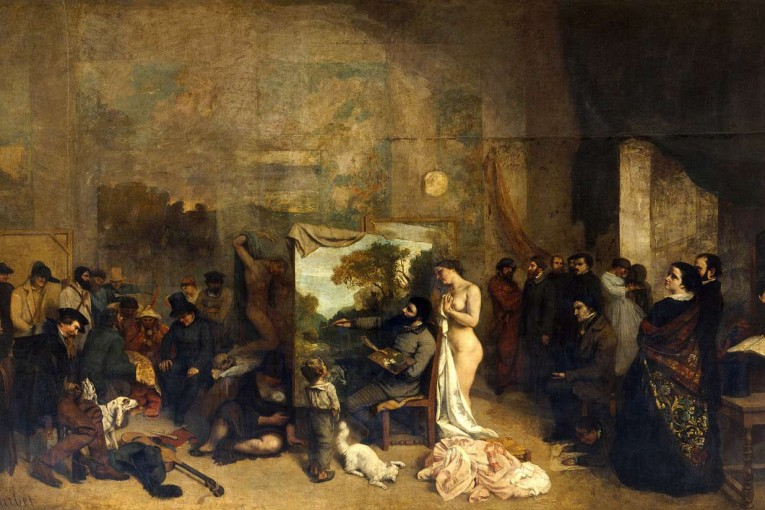 (1855) The painter's atelier, oil on canvas, 359×598cm, Musée d'Orsay