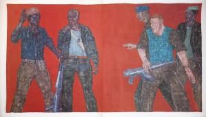 03. (1980) Mercenaries IV, acrylic on canvas, 305x584cm لئون گالب لئون گالِب؛ دربارهی هنر و جنگ 03