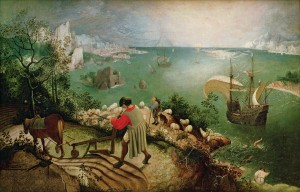 XIR3675 Landscape with the Fall of Icarus, c.1555 (oil on canvas) by Bruegel, Pieter the Elder (c.1525-69); 73.5x112 cm; Musees Royaux des Beaux-Arts de Belgique, Brussels, Belgium; (add.info.: Icarus seen with his legs thrashing in the sea;); Giraudon; Flemish,  out of copyright راههایی برای از نو نگریستن،سالوادور دالی راههایی برای از نو نگریستن Pieter Bruegel de Oude   De val van Icarus