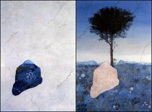 Renaissance Tree , 1974,2 Panels of a Diptych آیدین آغداشلو تجزیه و تحلیل و نقد آثار نقاشی : آیدین آغداشلو Renaissance Tree 19742 Panels of a Diptych