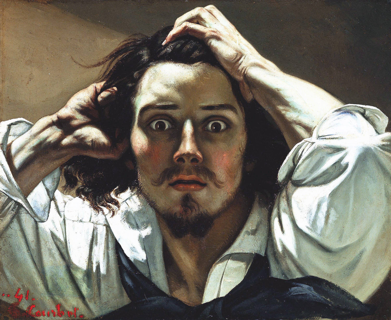 گوستاو کوربه، «مرد ناامید»، رنگ روغنی روی بوم، ۴۵در۵۴ سانتیمتر، ۱۸۴۳.