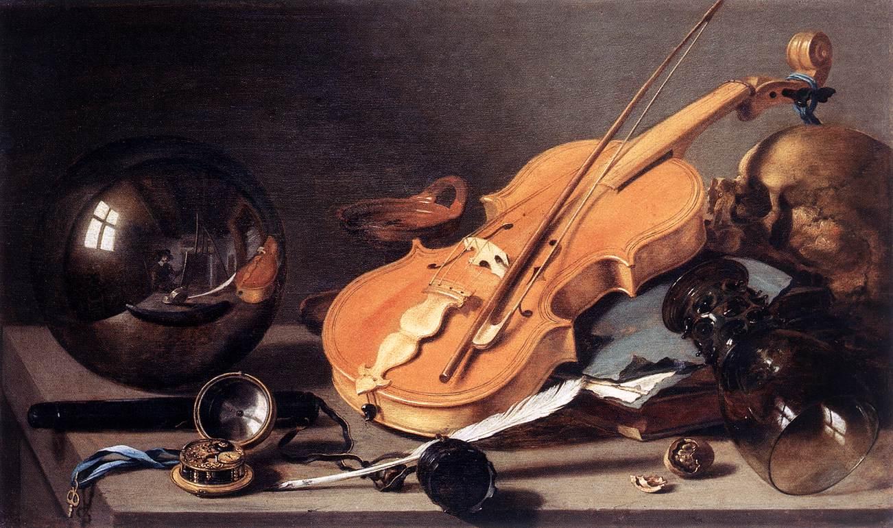 وانیتاس با ویلن و گوی بلورین-پیتِر کلاس-1628